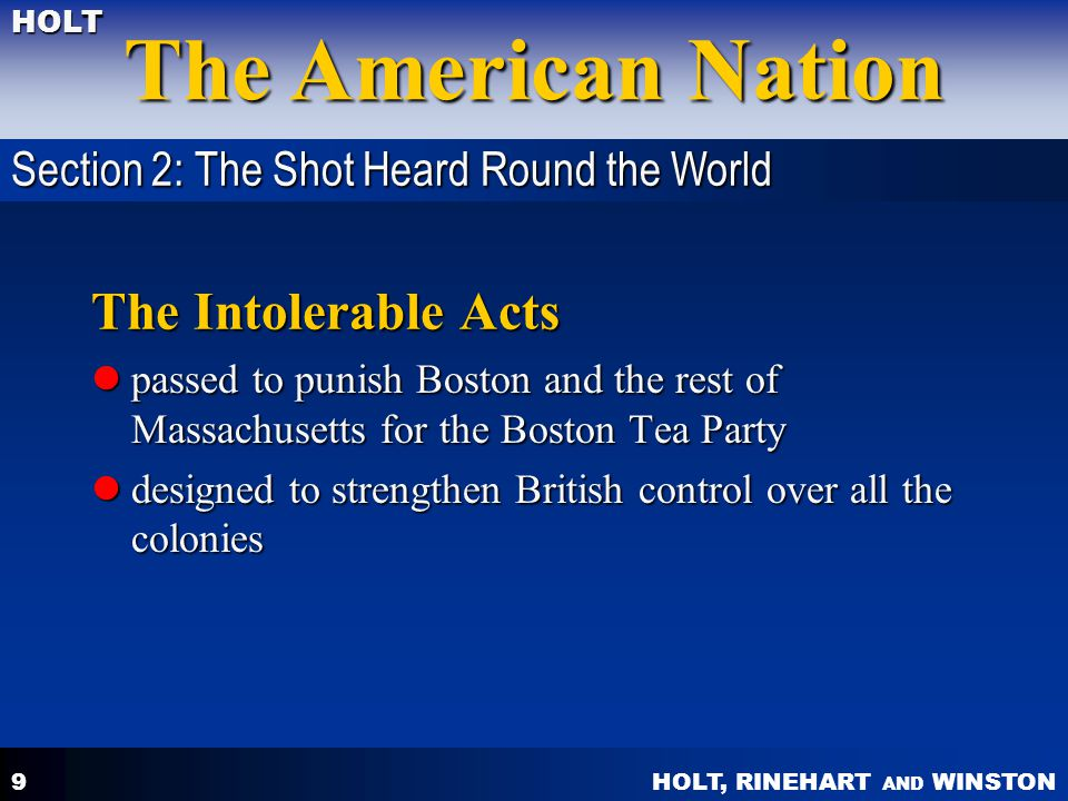 The Intolerable Acts Section 2: The Shot Heard Round the World