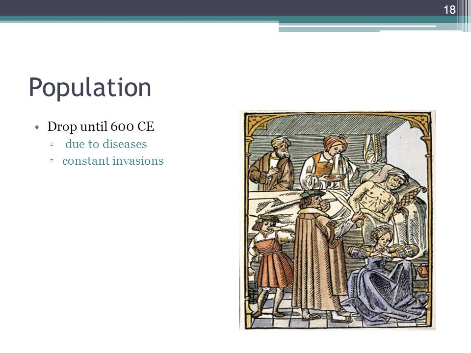 Population Drop until 600 CE due to diseases constant invasions