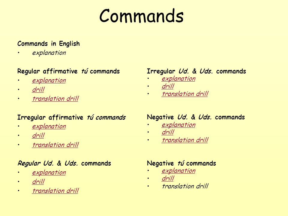 Commands Commands in English explanation