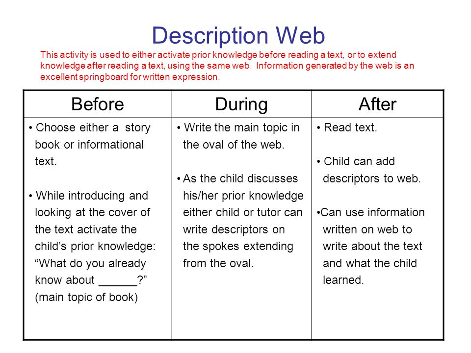Description Web This activity is used to either activate prior knowledge before reading a text, or to extend knowledge after reading a text, using the same web. Information generated by the web is an excellent springboard for written expression.