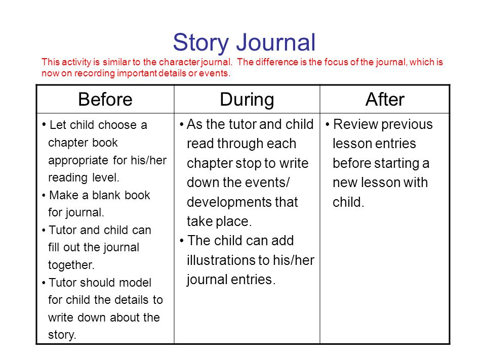 Story Journal This activity is similar to the character journal