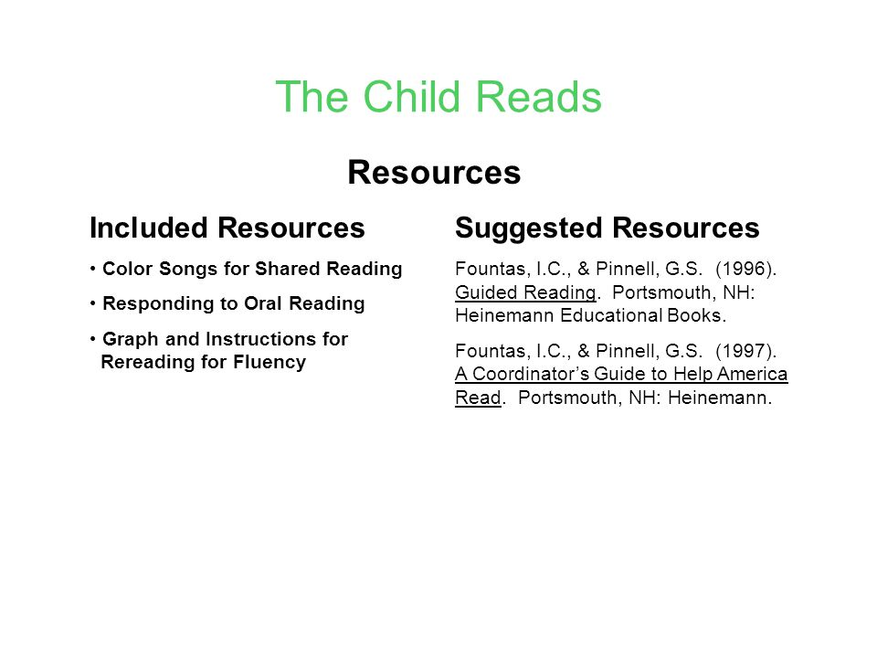 The Child Reads Resources Included Resources Suggested Resources