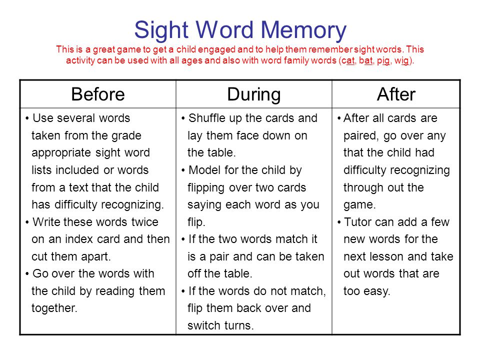 Sight Word Memory This is a great game to get a child engaged and to help them remember sight words. This activity can be used with all ages and also with word family words (cat, bat, pig, wig).