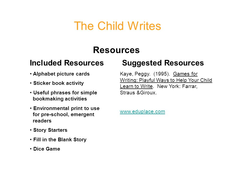 The Child Writes Resources Included Resources Suggested Resources