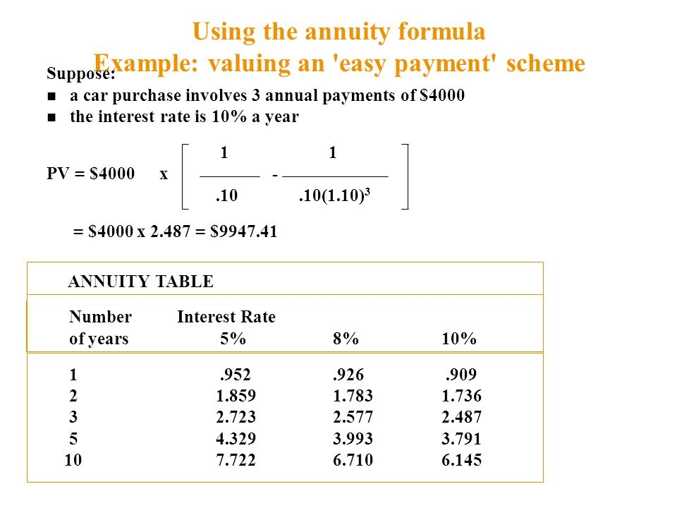 Using the annuity formula Example: valuing an easy payment scheme