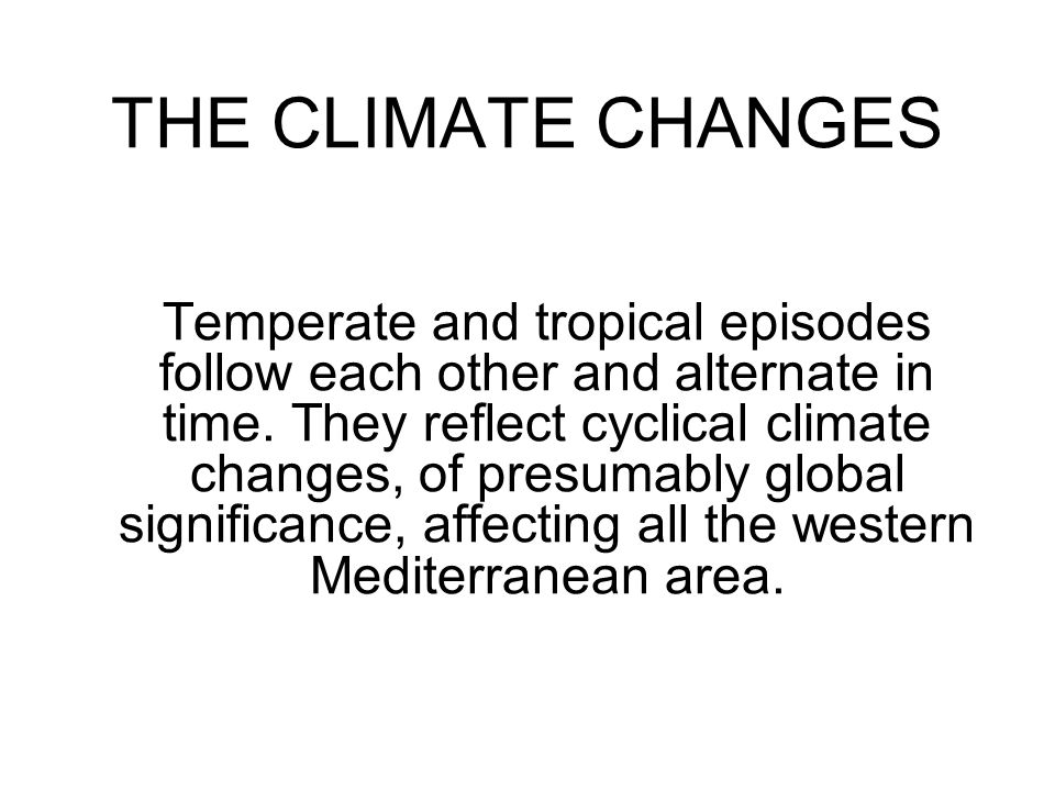 THE CLIMATE CHANGES