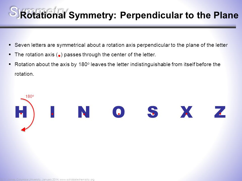 H I N O S X Z Symmetry Rotational Symmetry: Perpendicular to the Plane