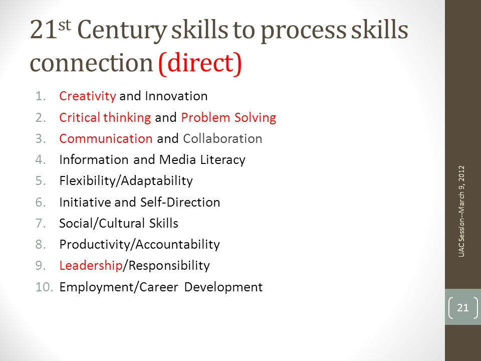 21st Century skills to process skills connection (direct)