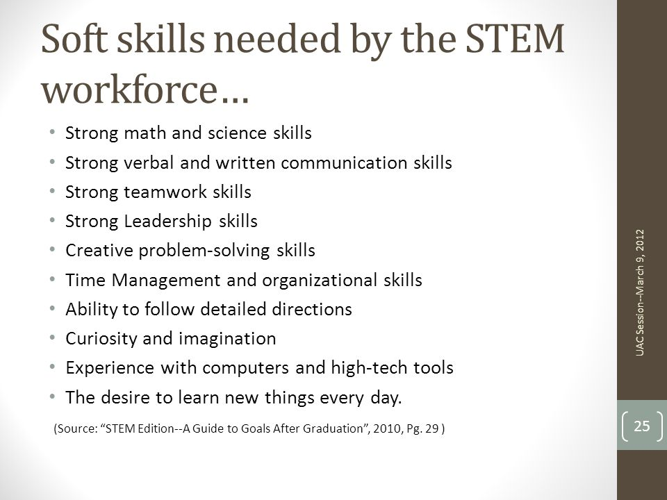 Soft skills needed by the STEM workforce…
