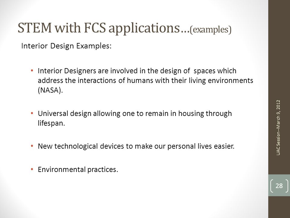 STEM with FCS applications…(examples)