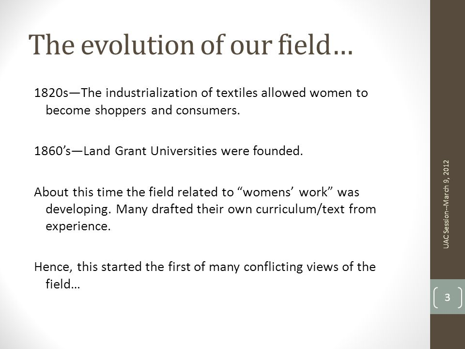 The evolution of our field…