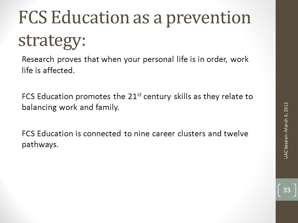 FCS Education as a prevention strategy: