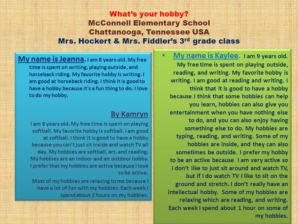 What's your hobby McConnell Elementary School Chattanooga, Tennessee USA Mrs. Hockert & Mrs. Fiddler's 3rd grade class