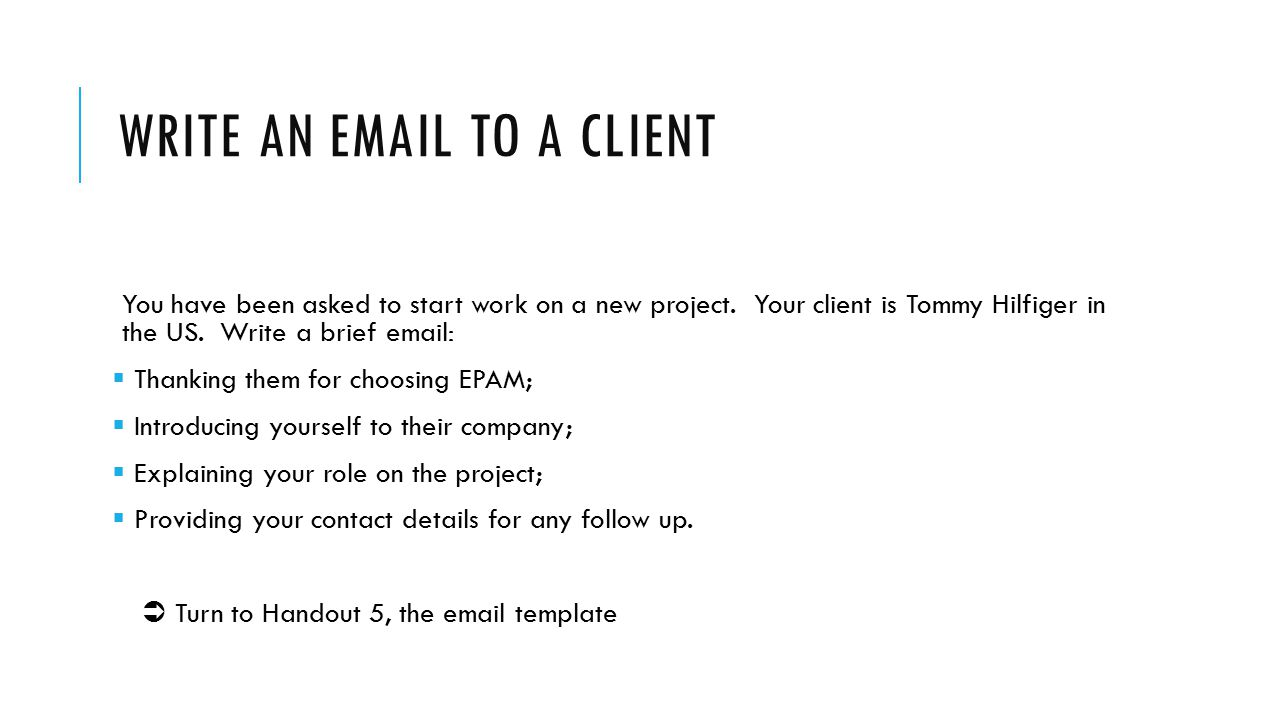 Write an email to a client