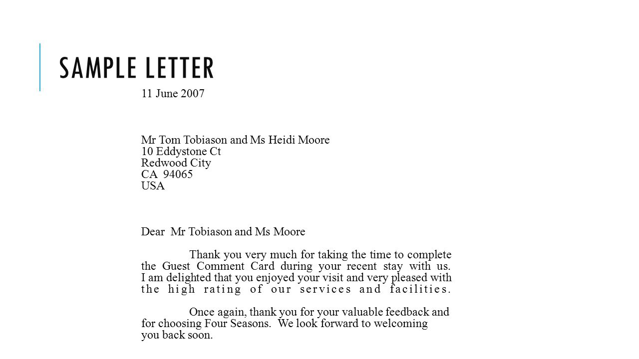 Sample letter 11 June 2007 Mr Tom Tobiason and Ms Heidi Moore