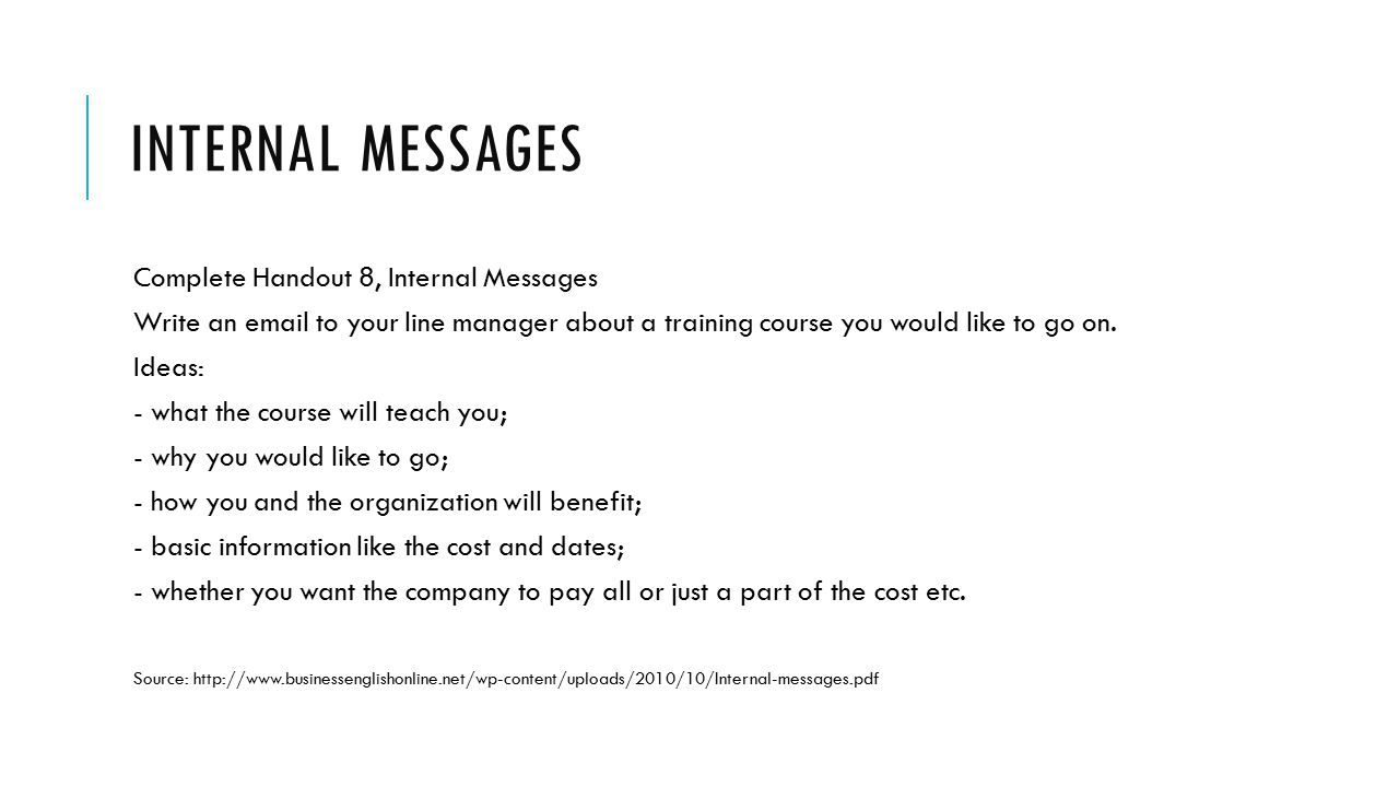 Internal Messages Complete Handout 8, Internal Messages