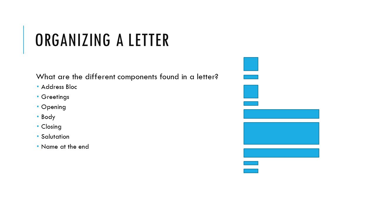 Organizing a letter What are the different components found in a letter Address Bloc. Greetings.