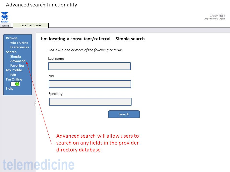 Advanced search functionality