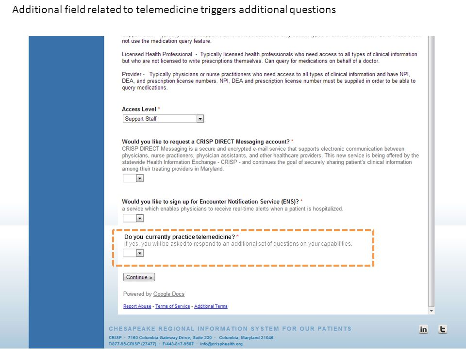 Additional field related to telemedicine triggers additional questions
