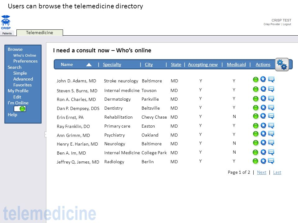 Users can browse the telemedicine directory
