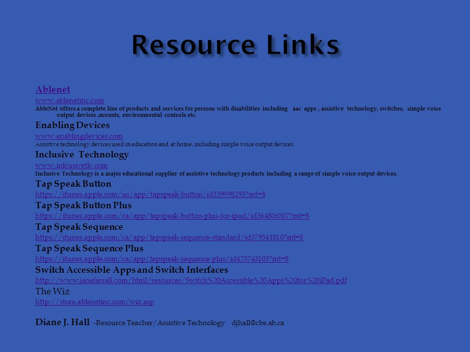 Resource Links Ablenet Enabling Devices Inclusive Technology