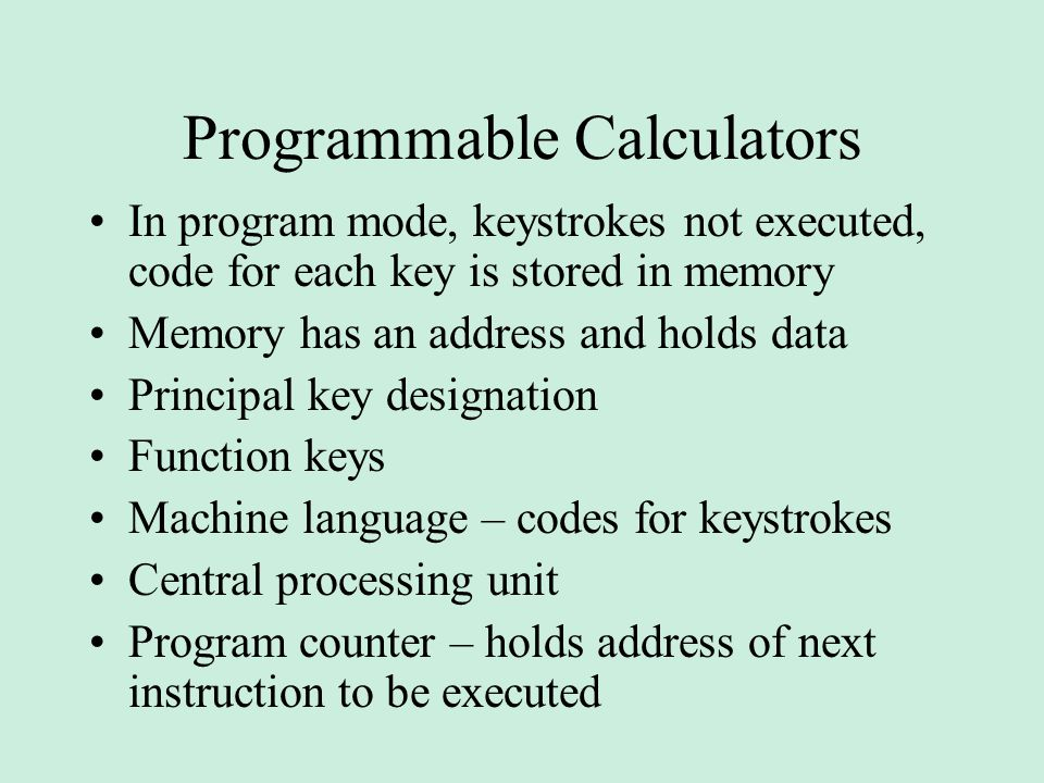 Programmable Calculators