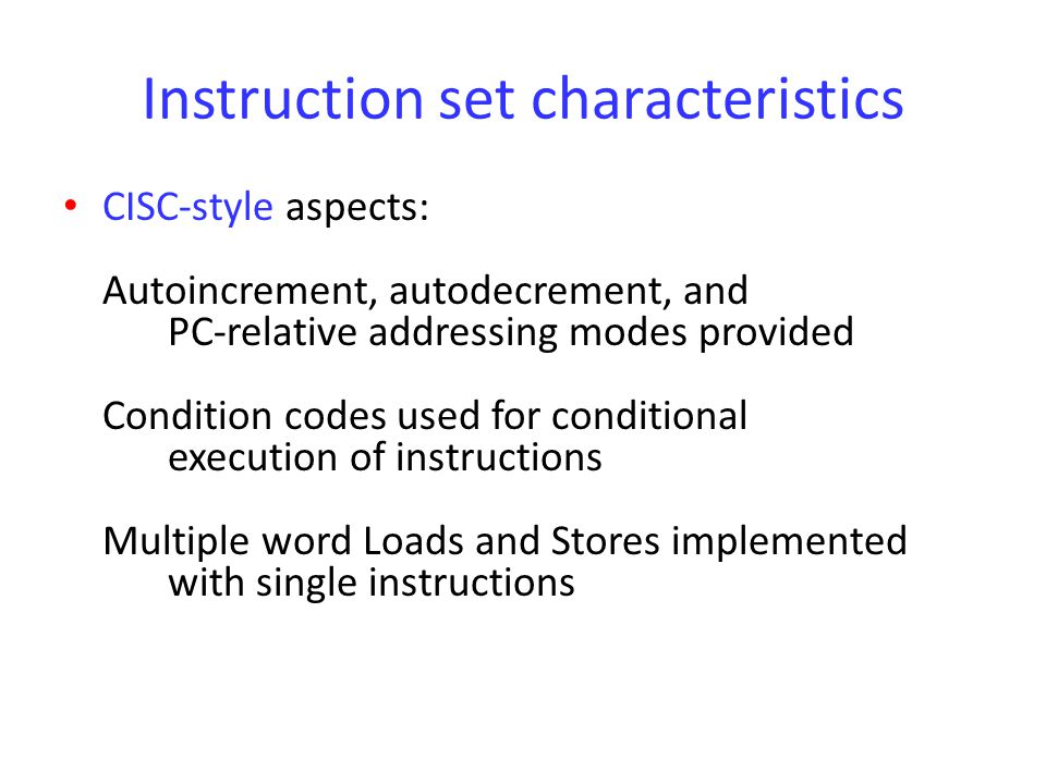 Instruction set characteristics