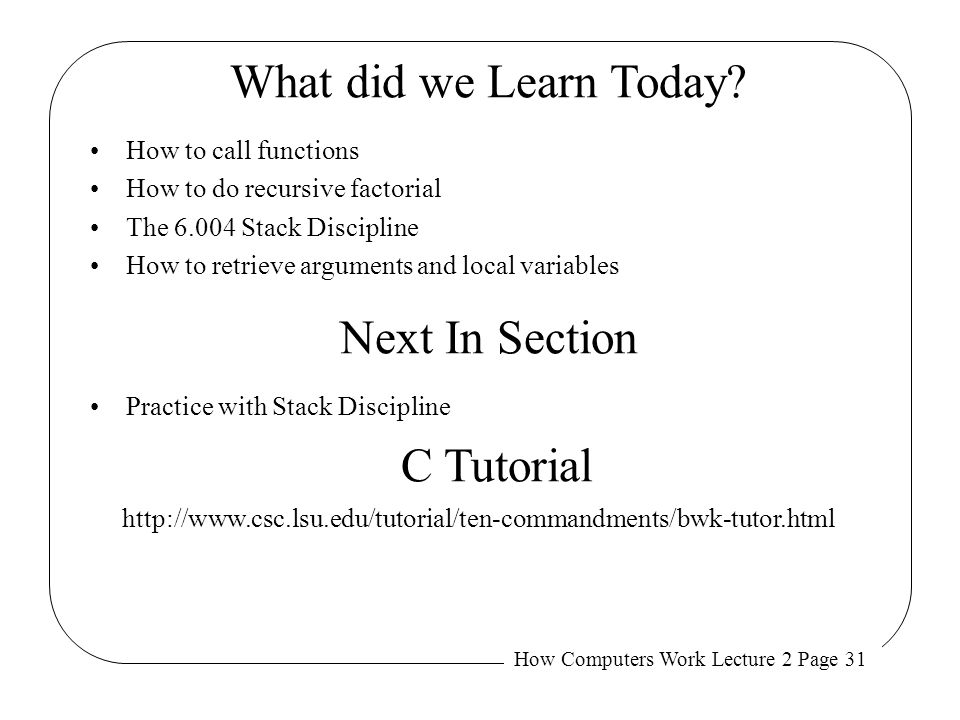 What did we Learn Today Next In Section C Tutorial