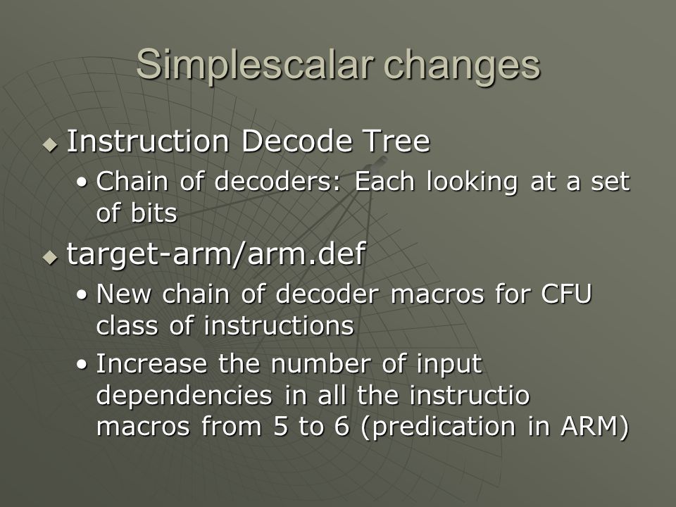 Simplescalar changes Instruction Decode Tree target-arm/arm.def