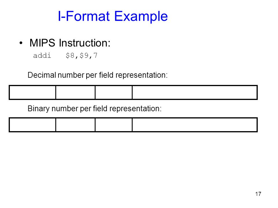 I-Format Example MIPS Instruction: addi $8,$9,7