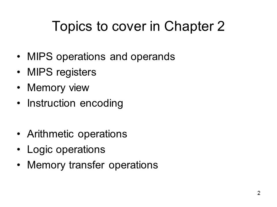 Topics to cover in Chapter 2