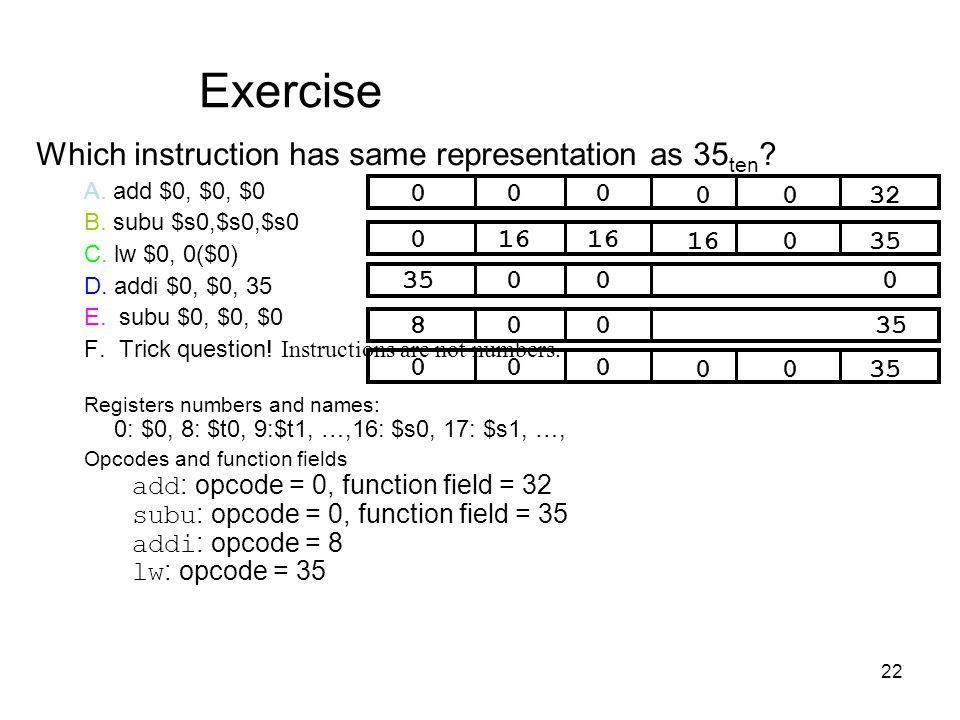 Exercise Which instruction has same representation as 35ten 32 16 35