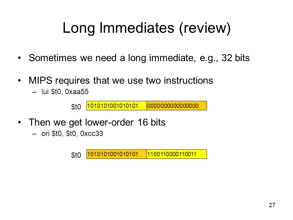 Long Immediates (review)