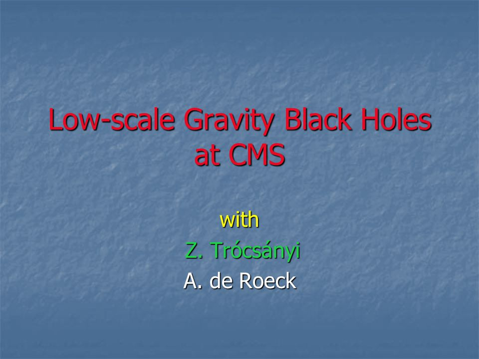 Low-scale Gravity Black Holes at CMS