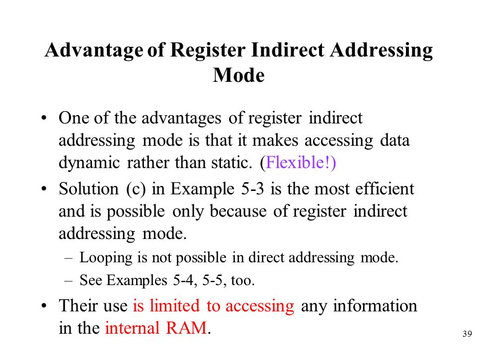 Advantage of Register Indirect Addressing Mode