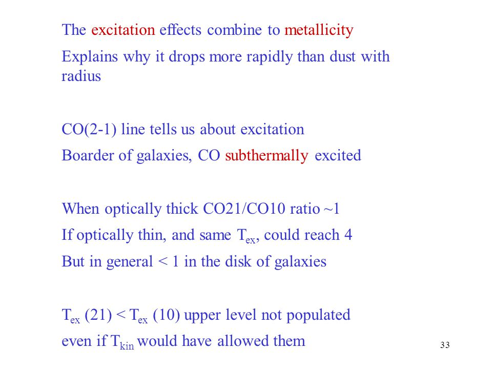 The excitation effects combine to metallicity