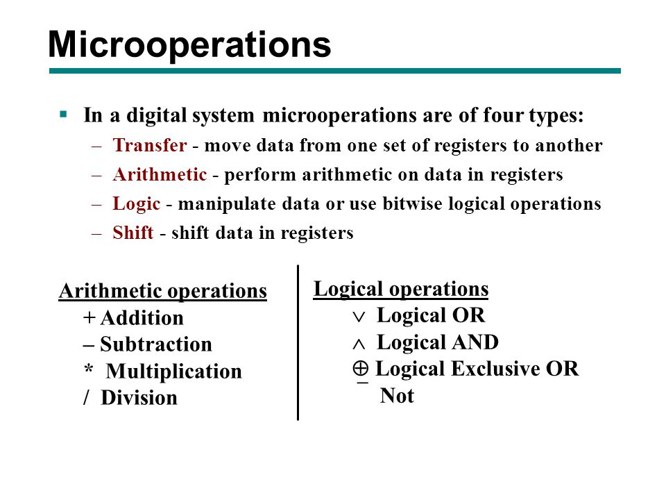 Microoperations In a digital system microoperations are of four types: