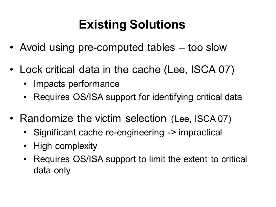 Existing Solutions Avoid using pre-computed tables – too slow