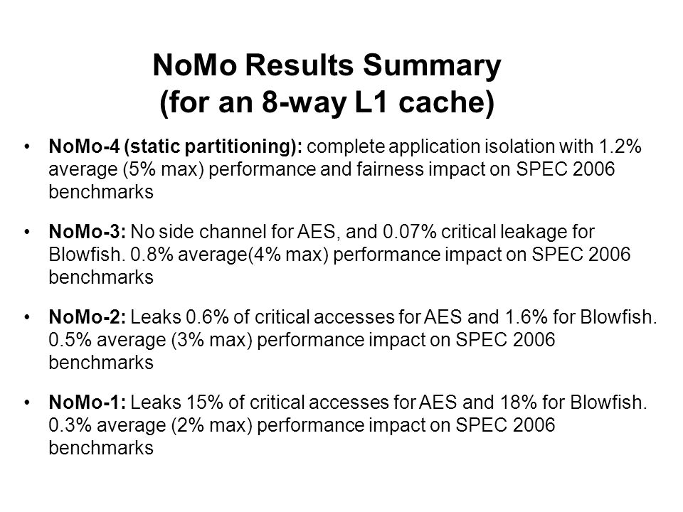 NoMo Results Summary (for an 8-way L1 cache)