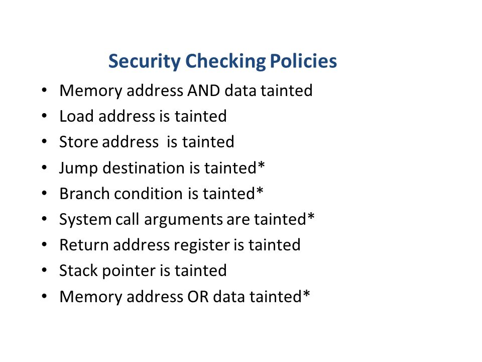 Security Checking Policies