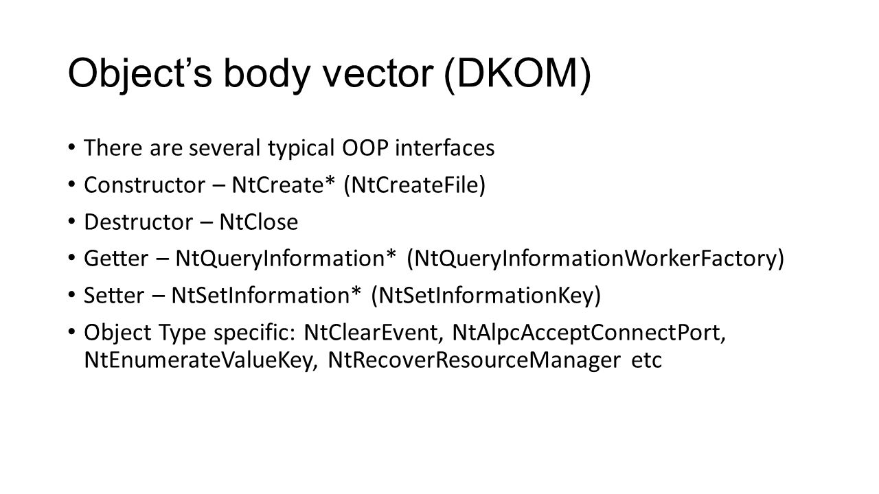 Object's body vector (DKOM)