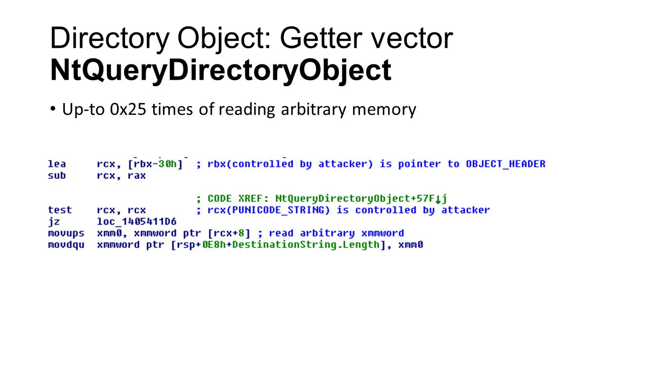 Directory Object: Getter vector NtQueryDirectoryObject
