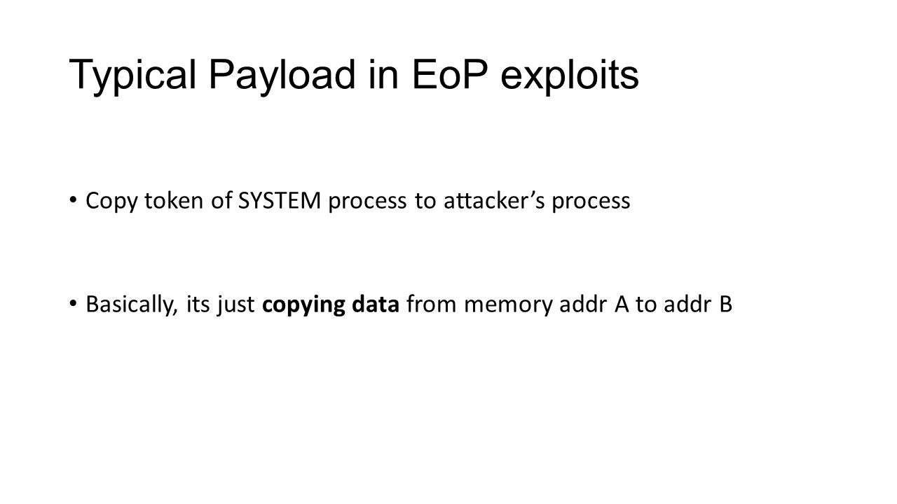 Typical Payload in EoP exploits