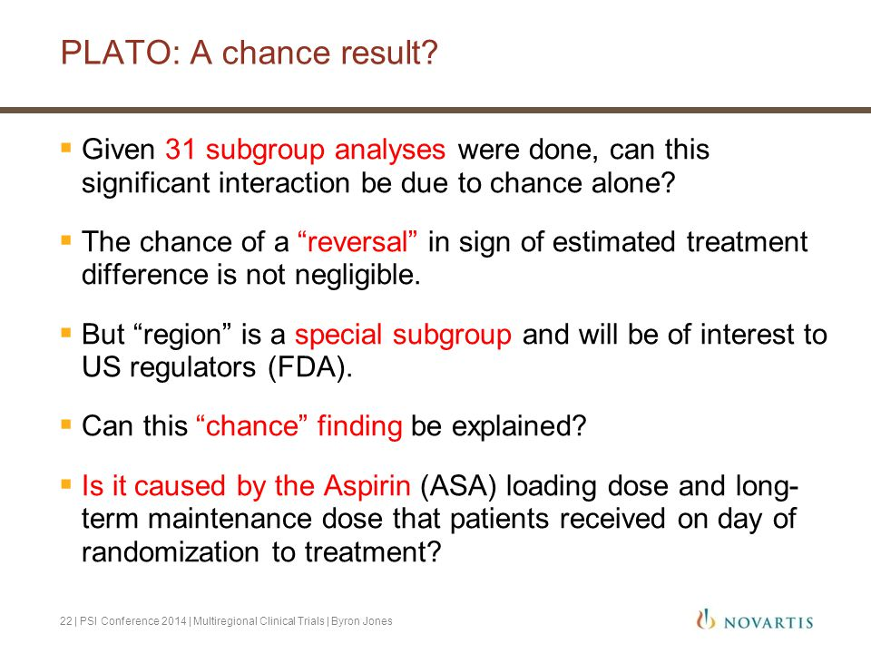 PLATO: A chance result Given 31 subgroup analyses were done, can this significant interaction be due to chance alone