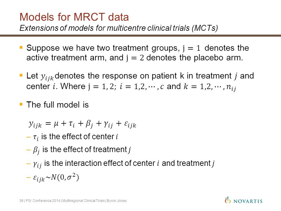 Models for MRCT data Extensions of models for multicentre clinical trials (MCTs)