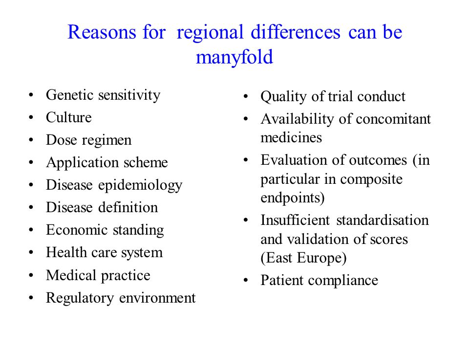 Reasons for regional differences can be manyfold
