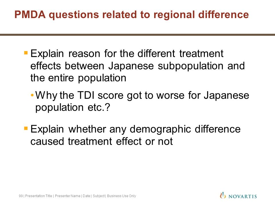 PMDA questions related to regional difference
