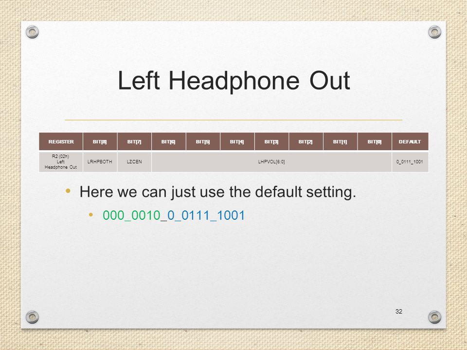 Left Headphone Out Here we can just use the default setting.