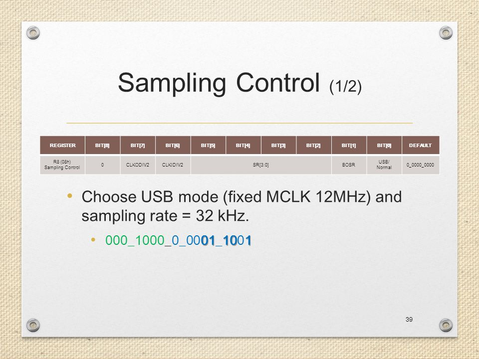 Sampling Control (1/2) Choose USB mode (fixed MCLK 12MHz) and sampling rate = 32 kHz. 000_1000_0_0001_1001.