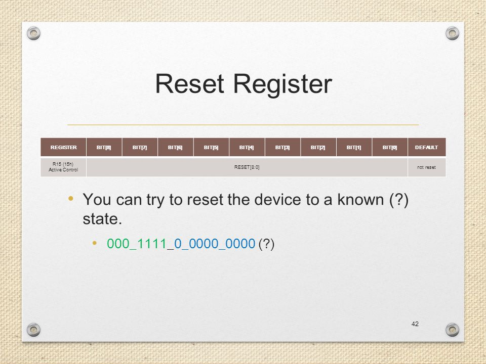 Reset Register You can try to reset the device to a known ( ) state.